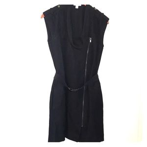 Calvin Klein Sleeveless Asymmetrical Zip Dress, XS